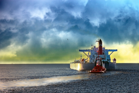 Tanker ship at sea during a storm  Stock Photo