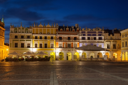 tenement: Armenian tenement houses in the Great Market square in Zamosc, Poland
