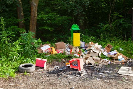 Garbage in landfill near forest - environment pollution   Stock Photo