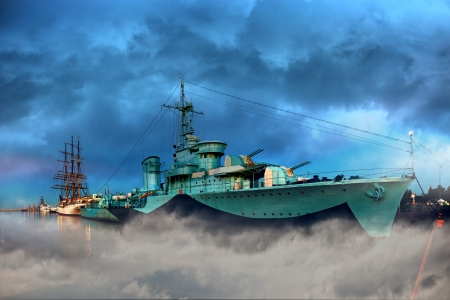 a battleship: Warship in the port of dramatic scenery