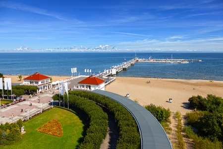 View of the pier from the old Lighthouse in Sopot, Poland