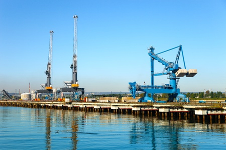 freeport: Large gantry and cranes at the port of Gdansk, Poland  Stock Photo
