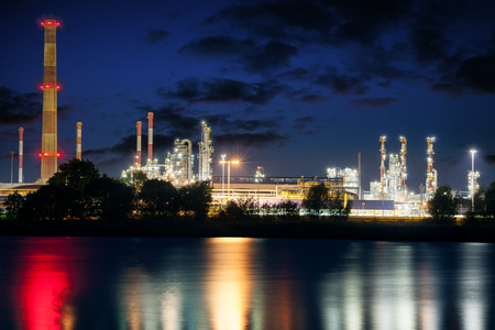 Refinery in the misty night  Gdansk, Poland  photo
