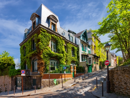 Charming streets in the district of Montmartre in Paris  Editorial