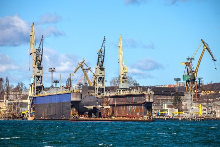 Floating dry dock in shipyard of Gdynia, Poland  photo