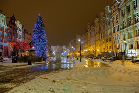 old town square: The Long Market with Christmas tree in Gdansk, Poland