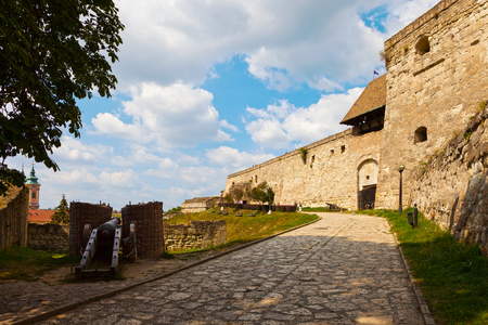 battlements: Old castle walls and battlements in Eger, Hungary