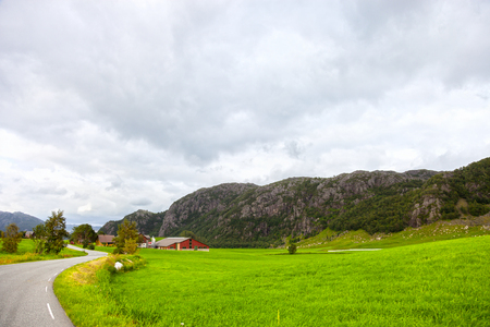 Norwegian mountains scenic with dramatic cloudy sky  Rogaland county  photo