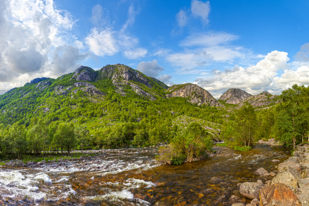 Wild river in the mountains in Norway  photo
