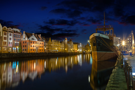 gdansk: Night view - Motlawa river and Old Town in Gdansk, Poland
