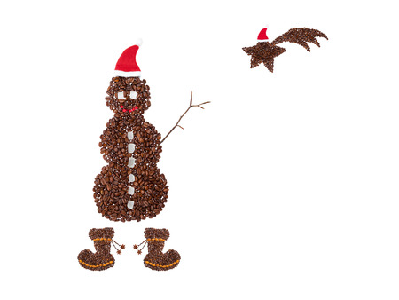 Christmas symbol made from coffee beans  photo