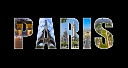 City of Paris, letters collage and monuments  photo