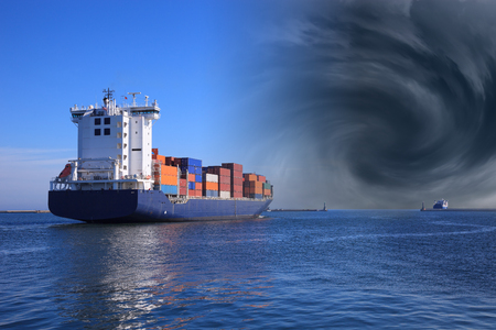 Hurricane is arriving in the port - Image is an artistic digital rendering  photo