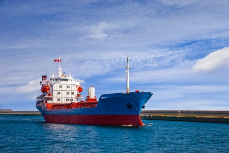 tanker ship: Industrial ship leaving port of Gdynia, Poland  Stock Photo