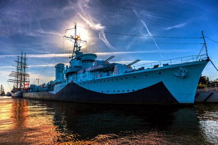 marine industry: Warship in the port of dramatic scenery  Gdynia, Poland