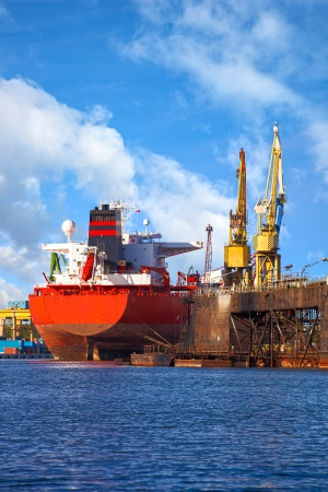 Big ship under repair in Gdansk Shipyard, Poland Stock Photo - 24751279