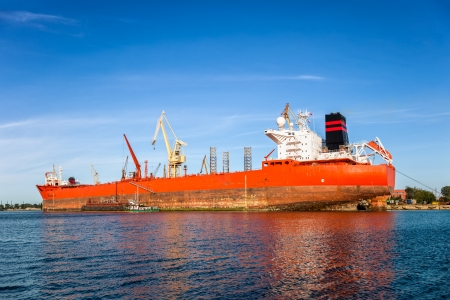 Big ship under repair in Gdansk Shipyard, Poland  Stock Photo - 24751355