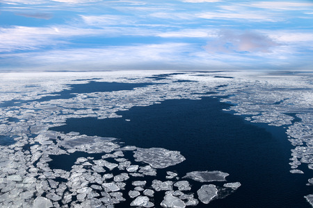 cracks in ice: Winter landscape with ice on frozen sea