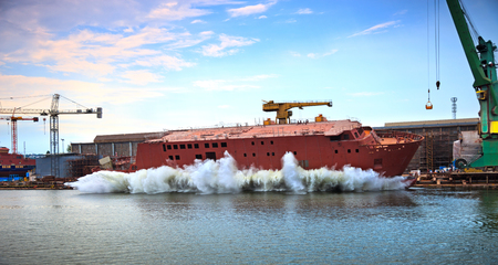 The newly built vessel during launching of the shipyards  photo