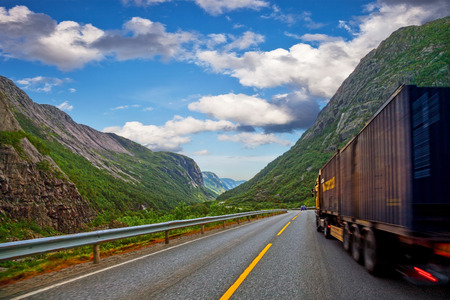 Big truck on a mountain road in Norway
