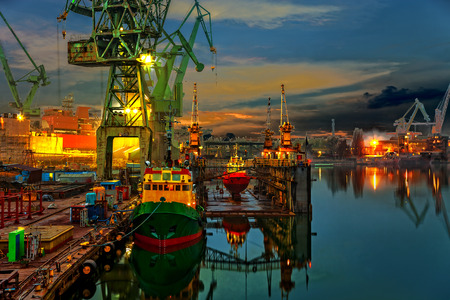 Industrial view of the Gdansk Shipyard, Poland