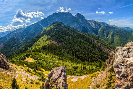 giewont: Tatra Mountains with Mt Giewont, one of the best known summit in the Polish mountains  Stock Photo