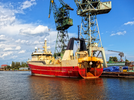 Fishing vessel trawler in a repair yard  Stock Photo - 26275544