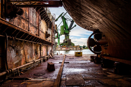 work boat: Industry view - On the dry dock in shipyard Gdansk, Poland