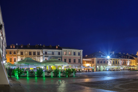 lublin: Tenement houses of the old Market Square in Zamosc, Poland