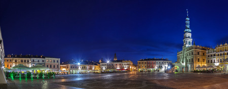 lublin: Night panorama of the Old City in Zamosc, Poland
