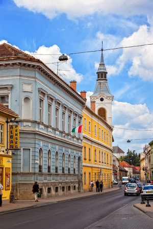 Charming street of Eger in Hungary