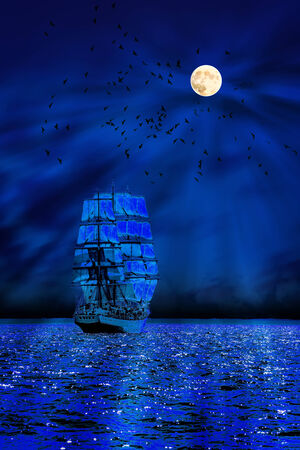 A Misty sailboat at sea with the moon and crows in the background  photo