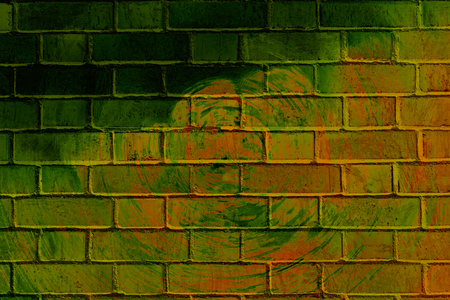 vandalize: Colorful abstract graffiti on a brick wall with rings  Stock Photo