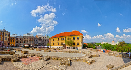 reconstructed: LUBLIN, POLAND - MAY 11  The Po Farze Square with reconstructed foundations of the former temple, on May 11, 2013 in Lublin, Poland  Lublin is a candidate for the title of European Capital of Culture in 2016  Editorial