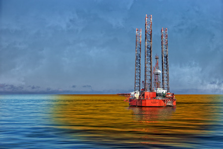 Petroleum spill from the oil rig - Image is an artistic digital rendering  photo