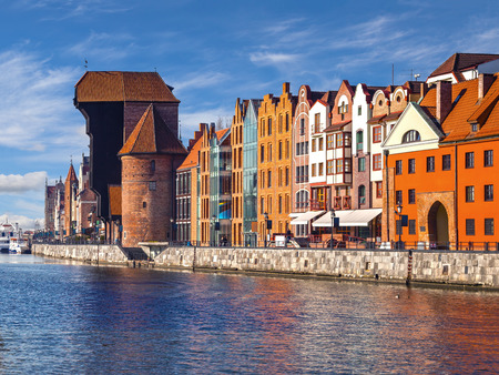 gdansk: Motlawa River with medieval port crane in Gdansk, Poland