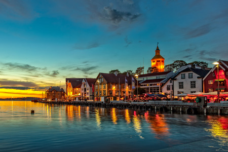 Stavanger at night - Charming town in the Norway   Stock Photo