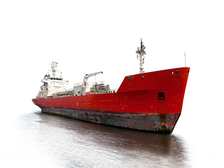 Photo of a tanker ship isolated on white background
