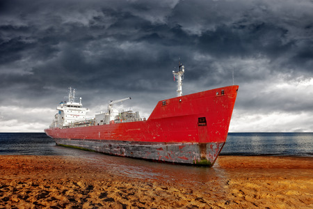 Big ship aground due to a severe storm - Image is an artistic digital rendering