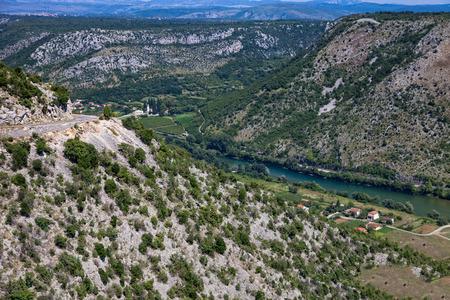 hill of tara: Beautiful landscape with river Neretva in Bosnia and Herzegovina, Balkans