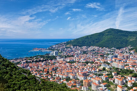 Top view of the seacoast of Budva, Montenegro. photo