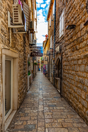 europe eastern: Picturesque narrow street in Old Town in Budva, Montenegro.