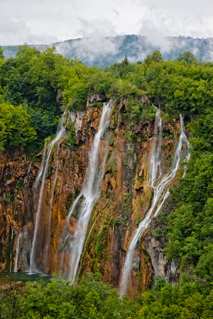 plitvice: Lake at Plitvice Lakes National Park in Croatia with waterfalls.
