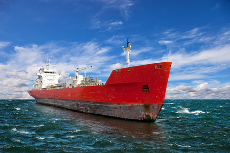 tanker ship: Perspective view on a tanker at sea. Stock Photo