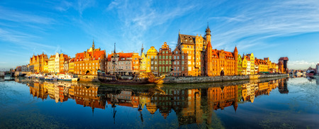The riverside with the characteristic promenade of Gdansk, Poland. photo