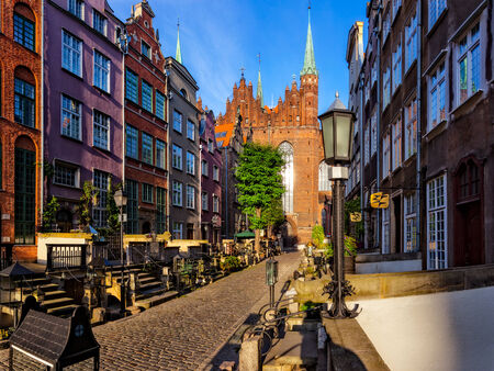 Marys Street with the Basilica in Gdansk, Poland. photo