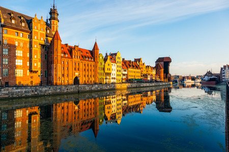 characteristic: The riverside with the characteristic promenade of Gdansk, Poland. Stock Photo