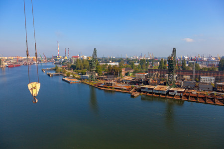 Aerial view of the industrial landscape shipyard in Gdansk, Poland. photo