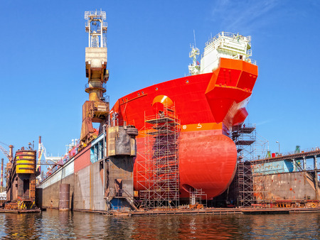 Ship bow forward on dry dock i shipyard. Standard-Bild