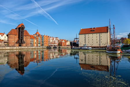 gdansk: The riverside with the characteristic promenade of Gdansk, Poland. Stock Photo